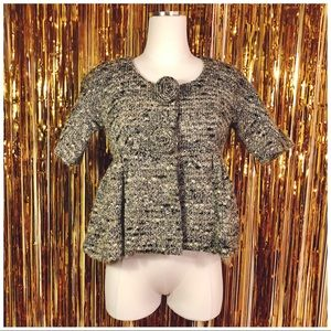 Anna Sui speckled knit wool blazer w/rosettes